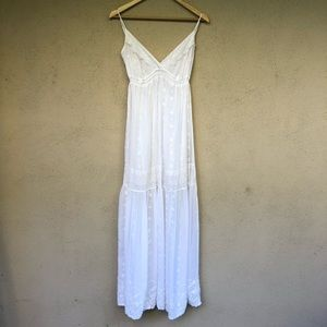 JOHNNY WAS Long Maxi Boho White EYELET Dress XL